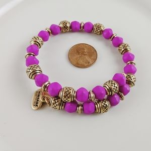 Alex and Ani R Gold & Pink Vintage 66 Beaded Wrap